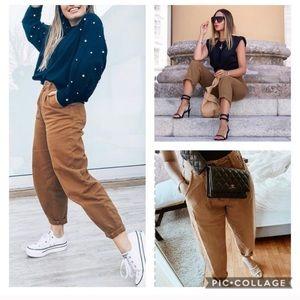 NEW H&M Loose mom fit jeans 6 brown tan